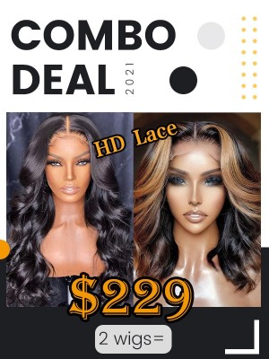 Combo Sale Deep Wave & Natural Wave HD Lace Human Hair Wigs SS-4