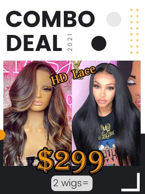 Combo Sale Natural straight wig & 18inch highlight Wave Human Hair Wigs SS-8