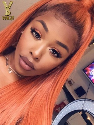 YSwigs #130 Orange Virgin Brazilian Human Hair 13*6 Lace Front Wigs Dynasty