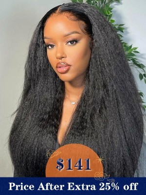 YSwigs Kinky straight Yaki  Undetectable Dream 13*6 HD Lace Hairline Human Hair  Wigs QJF009