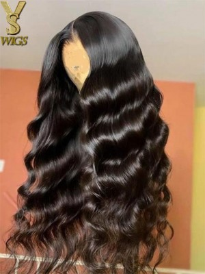 YSwigs Wave 13* 6  Lace Front Wigs Human Hair Wig Virgin Pre Plucked Undetectable Dream HD Lace Bleached Knots GX7241