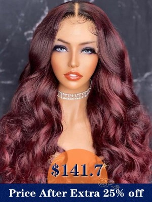 YSwigs Undetectable HD Lace Ombre 99j Natural Wave Brazilian Human Hair Wig CLS-19