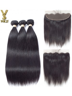 YSwigs Straight Virgin Hair 3 Bundles With Lace Frontal Closure 13x4 Wholesale Human Hair Weave HXQ335