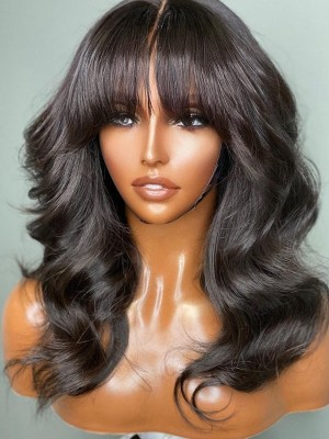 YSWIGS 150% Density Chinese Bang Wave Transparent & Brown Lace Human Hair Lace Front Wig