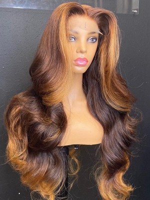 YSwigs 180% Density Chocolate Brown Body Wave Human Hair Wigs Undetectable Dream HD lace 360 Lace With Baby Hair  HXQ003