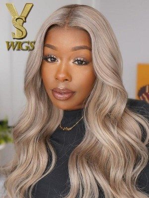 YSwigs 2021New Fashionable Color Ash Blonde Human Hair HD Lace Front Wigs WD015