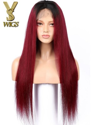 YSwigs Ombre 99J Lace Front Human Hair Wig Virgin Brazilian Hair Wig Baby Hair HXQ231