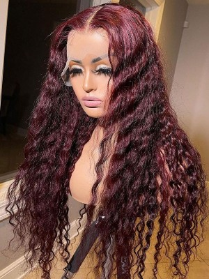 YSwigs 99j Red Kinky Curly Human Hair 13x6   Lace Front Wigs Virgin Undetectable Dream HD Lace Pre Plucked Hairstyle Bleached Knots DS5