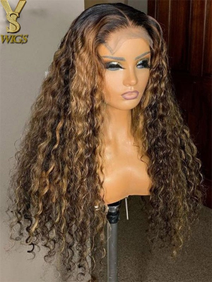 YSwigs High Ponytail Brazilian Human Hair Undetectable Dream HD lace 200% Density Curly 360 Lace Wigs Pre-Plucked For Black Women QJF001