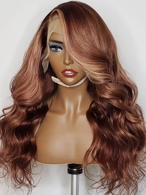 YSWIGS Highlight Wave Transparent & Brown Lace Human Hair Lace Front Wig