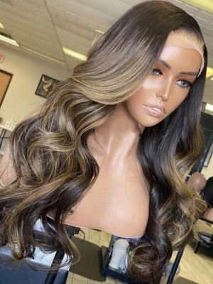YSWIGS Highlight Wave Transparent & Brown Lace Human Hair Lace Front Wig BT-15