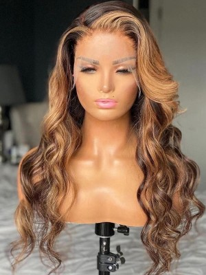YSWIGS Highlight Wave Transparent & Brown Lace Human Hair Lace Front Wig BT-6