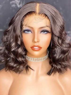 YSwigs Hot Selling Wavy Short Bob Style Undetectable Dream HD Lace Human Hair 136 Lace Front Wigs GX3151