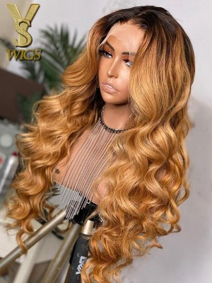 YSwigs Ombre Blonde Body Wave Pre Plucked Undetectable Dream HD lace Human Hair 360 lace wig DS2