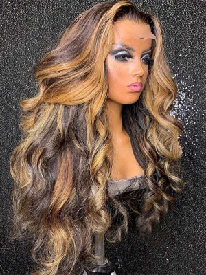 YSwigs Mixed Color Straight Undetectable Dream HD Lace Human Hair Full Lace Front Wigs WD013