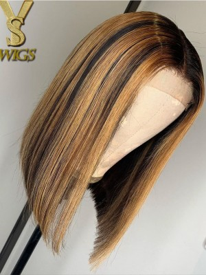 YSwigs Mixed Color Straight Undetectable Dream HD Lace Human Hair Lace Front Wigss B001