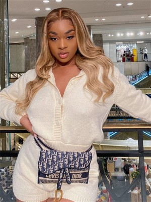 YSwigs Omber Blonde Human Hair HD Lace Front Wig YS0614
