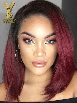 YSwigs Ombre #1bT99j Short Bob Lace Front Wig Straight Human Hair WD006