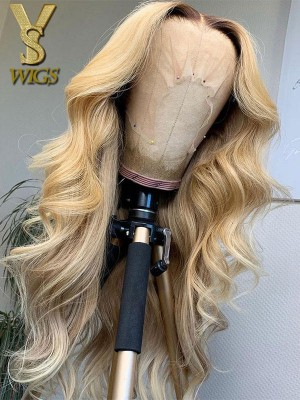 YSwigs Ombre Ash Blonde Natural Wave Lace Front Brazilian Remy Human Hair Wigs HX30