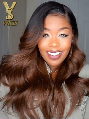 YSwigs Ombre Body Wave Pre Plucked Human Hair 360 lace wig aaa