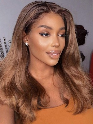 YSWIGS Ombre Brown Wave Transparent & Brown Lace Human Hair Lace Front Wig