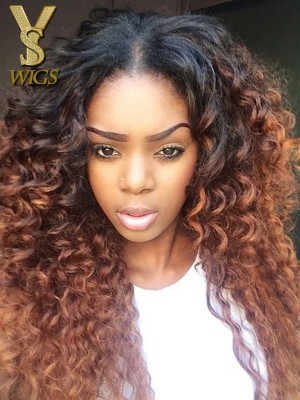 YSwigs Ombre Kinky Curly Human Hair Full Lace Wigs for Black Women GX327
