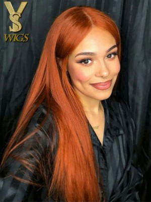 YSwigs Orange Light Brown Brazilian Human Hair Lace Front Wig GX124