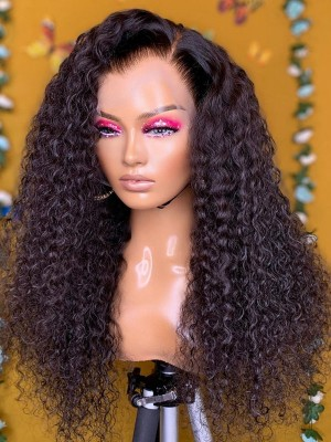 YSwigs Pre Plucked Brazilian Undetectable Dream HD Lace Human Hair Kinky Curly 13*6 Lace Front Wigs GX110