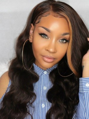 YSWIGS Undetectable Dream HD Lace Highlight Wave Human Hair Lace Front Wig DS11