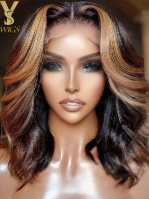 YSwigs Undetectable Dream HD Lace Natural Wave Short Bob Style Lace Front Human Hair Wig GX009