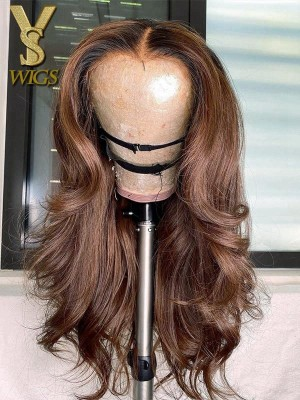 YSwigs Undetectable Dream HD Lace Ombre Body Wave Human Hair 13×4 Lace Front Wig DS12