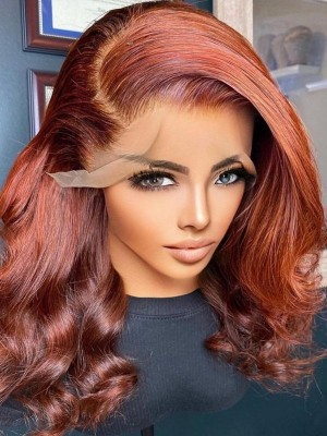YSwigs Undetectable Dream HD Lace Silky Straight Ginger Bob Human Hair Lace Front Wigs