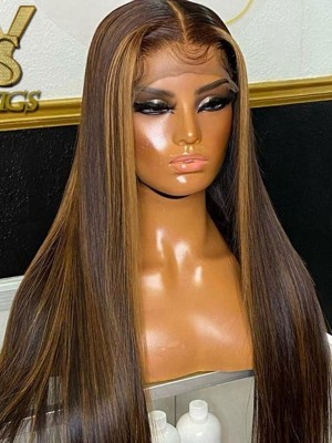 YSwigs Undetectable HD Lace Highlight Silky Straight Virgin Brazilian Human Hair Wig CLS-7