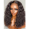 YSWIGS 150% Density Kinky Curly Transparent & Brown Lace Human Hair Lace Front Wig BT-4