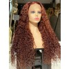 YSWIGS Ginger Curly Transparent & Brown Lace Human Hair Lace Front Wig