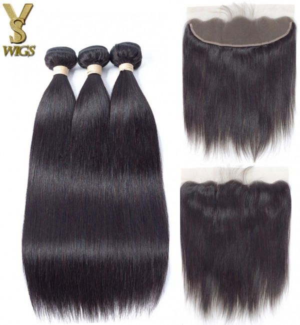 Yswigs Straight Virgin Hair 3 Bundles With Lace Frontal Closure 13x4