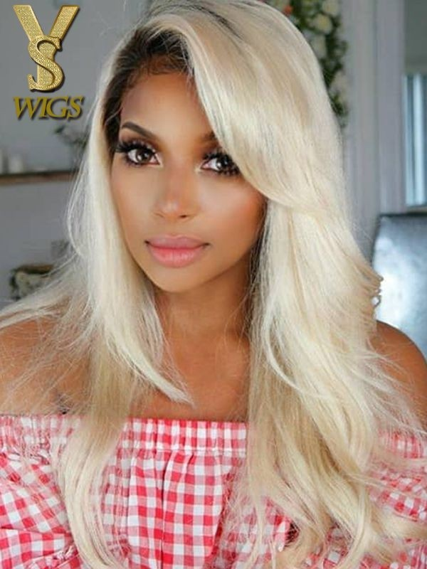 Yswigs Dark Root Ombre 613 Blonde Lace Front Virgin Human