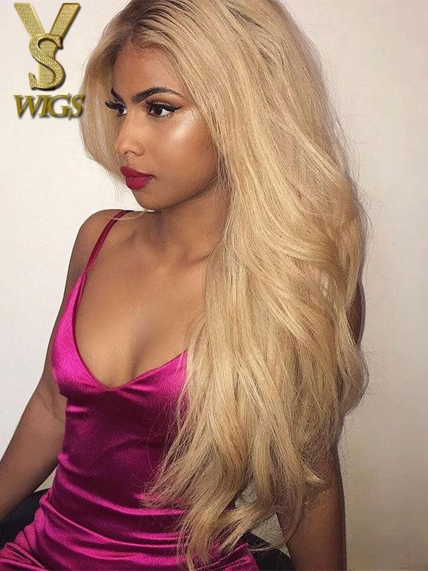 YSwigs Dark Root Ombre Blonde 180% Density Lace Front Virgin Human Hair Wigs GX1022 DS4