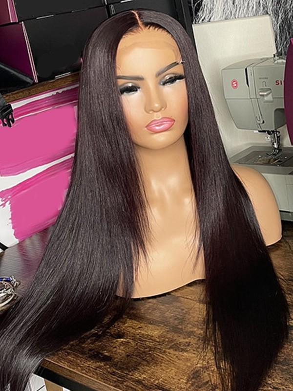 YSWIGS 150% Density Silky Straight Transparent & Brown Lace Human Hair Lace Front Wig