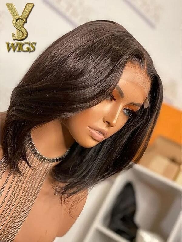 YSwigs Short Silky Straight Bob Style 13 6 Lace Front Wigs Undetectable Dream HD Lace Human Hair Wig Virgin Pre Plucked Bleached Knots GX726