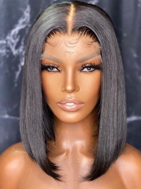 YSwigs Silky Straight Bob Undetectable Dream HD Lace Human Hair 136 Lace Front Wigs